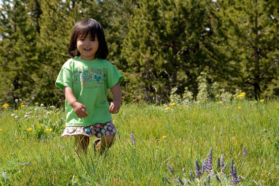 Kristen's daughter, Ying, in the wild flowers of Red Top Mountain in Wenatchee National Forest.