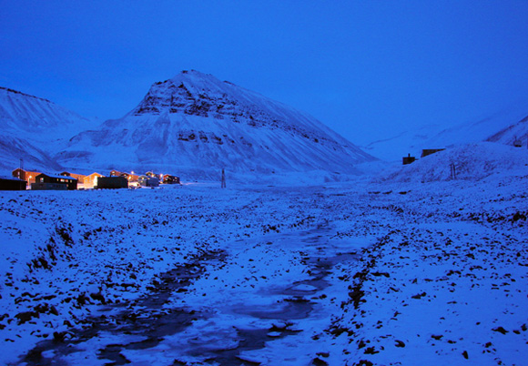 A polar night, in Longyearbyen, Norway.