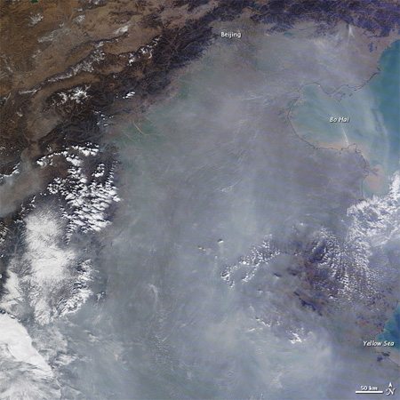Thick haze blankets eastern China in early November 2011. (LANCE/EOSDIS MODIS Rapid Response Team at NASA GSFC)