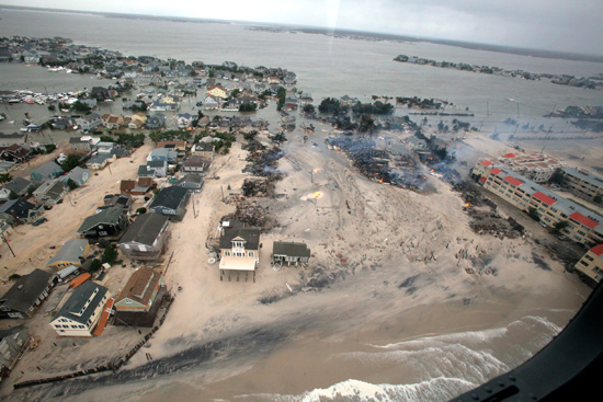 Aerial view of damage to the New Jersey coast. (U.S. Air Force / Master Sgt. Mark C. Olsen)