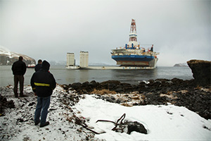 Kulluk being moved after grounding.