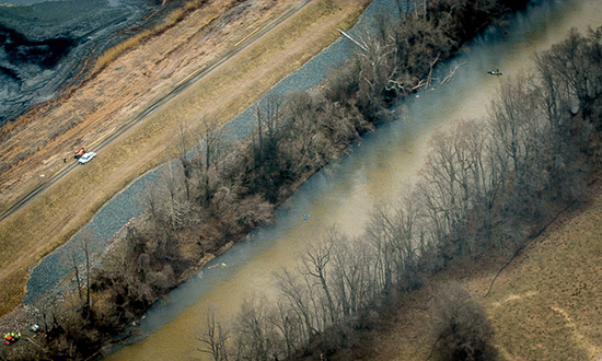 The coal ash-contaminated Dan River. (Photo courtesy of Waterkeeper Alliance)