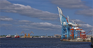 Lamberts Point, seen to the left across the Elizabeth River, is the busiest coal export terminal in the country. (Stephen Little)