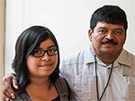 Selena Zelaya, with her father. (Photo by Matt Roth / Earthjustice)