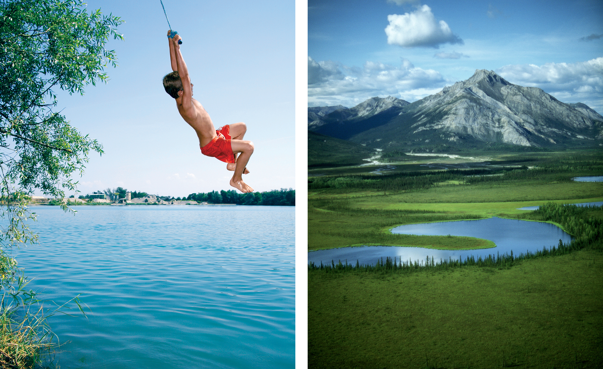 Left: A boy swings on a rope. Right: An aerial view of the John River in Alaska's Gates of the Arctic National Park.
