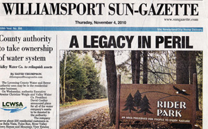 Front page article in the 'Williamsport Sun-Gazette.'