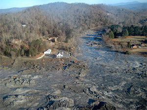 The Kingston, TN, coal ash spill. In 2008, residents all along the Emory River woke up to the tragedy of 1 billion gallons of toxic coal ash that spilled from the Tennessee Valley Authority's Kingston Fossil Plant. The spill covered 300 acres, destroyed homes, poisoned rivers and contaminated coves and residential drinking waters. (TVA)