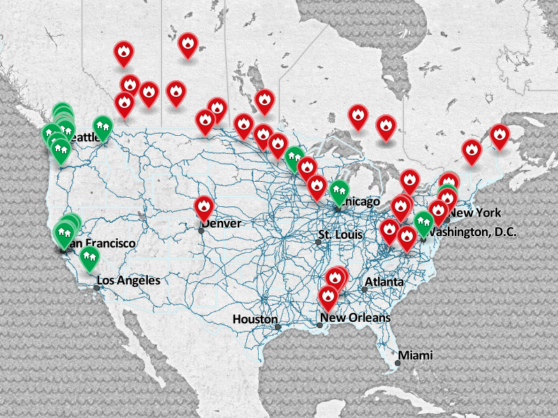 Map CrudebyRail Across America – Train Travel In Usa Maps