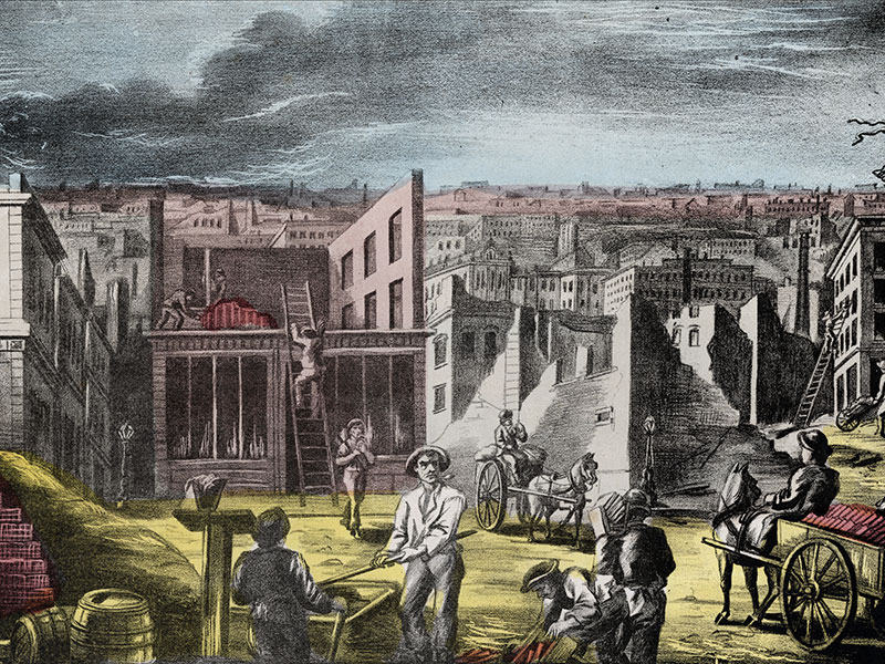 Lithograph (by Rufus Blanchard) of people rebuilding after the Great Chicago Fire, Chicago, Illinois, 1871.