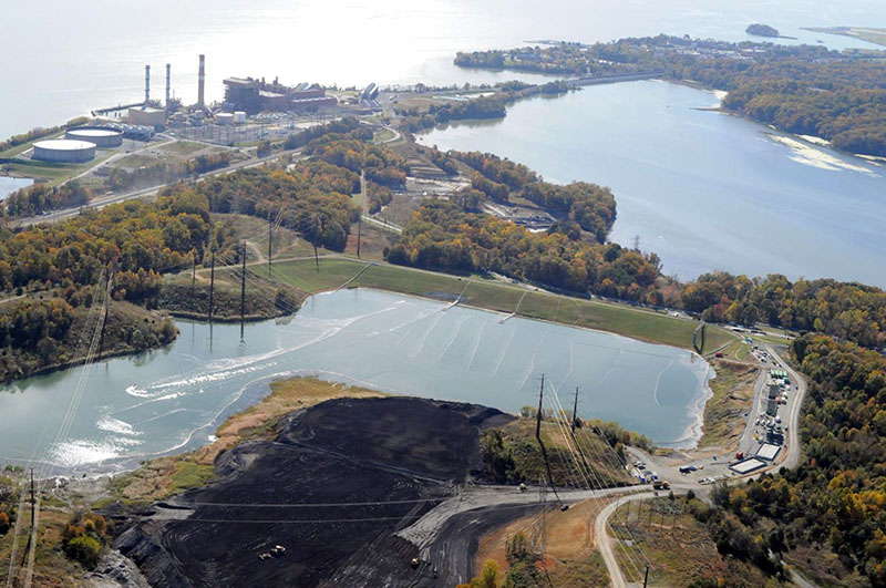 A coal ash pond at Dominion Energy's Possum Point Power Station in Virginia.