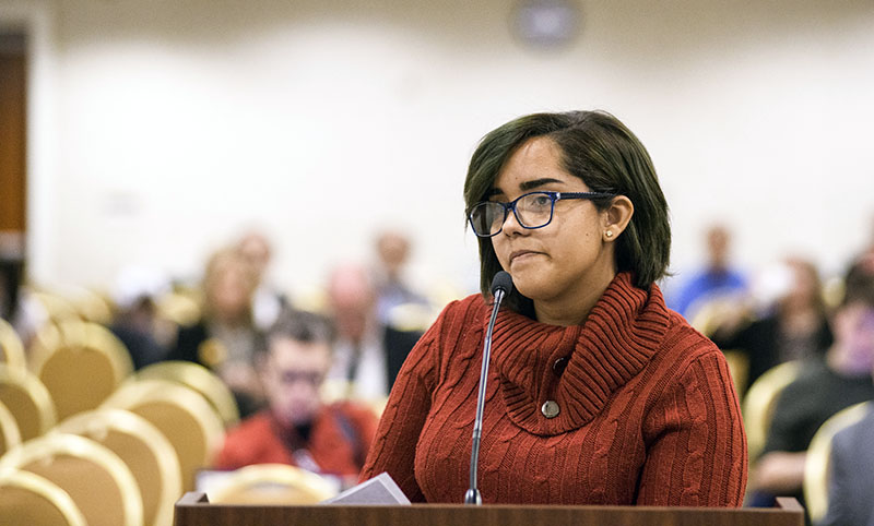 Mabette Colon testifies at an EPA hearing on coal ash disposal in 2018.