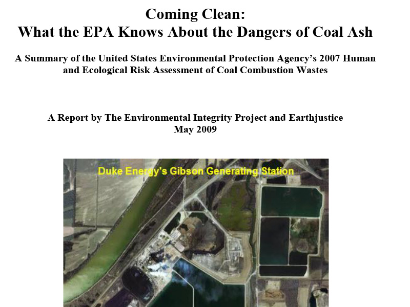 Coming Clean: What the EPA Knows About the Dangers of Coal Ash