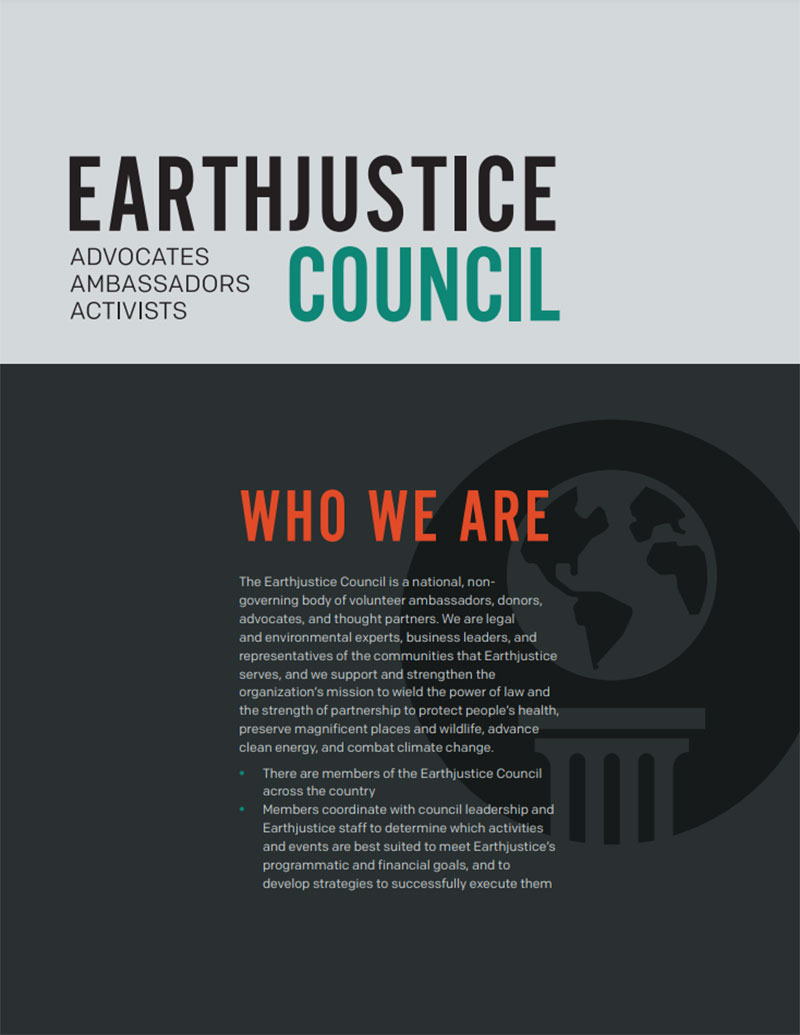 Information on the Earthjustice Council