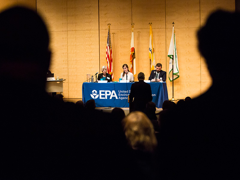 Speakers at the listening session held by the U.S. Environmental Protection Agency on the proposed repeal of the Clean Power Plan, in San Francisco on Feb. 28, 2018.