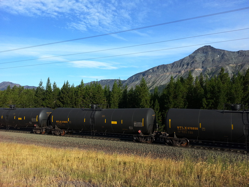 A train transporting oil through Glacier National Park