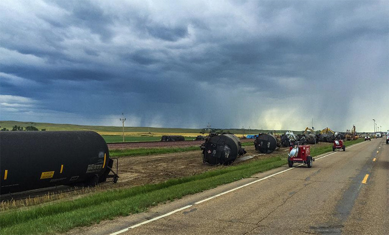 Derailed tank cars, five miles east of Culbertson, MT. (Photo courtesy of KULR-8)