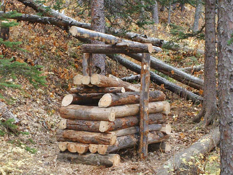 Log box-trap in Glacier National Park. The traps were used to temporarily capture wolverines to obtain survey data.