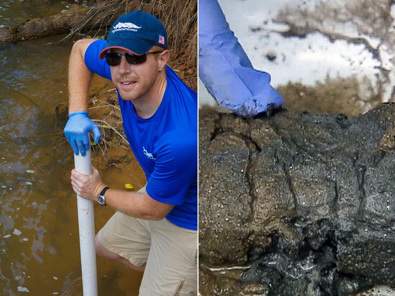 Waterkeeper Alliance Attorney Pete Harrison retrieves core samples at the Dan River on July 17, 2014 (left), finding a black plume of coal ash just below the river bottom.