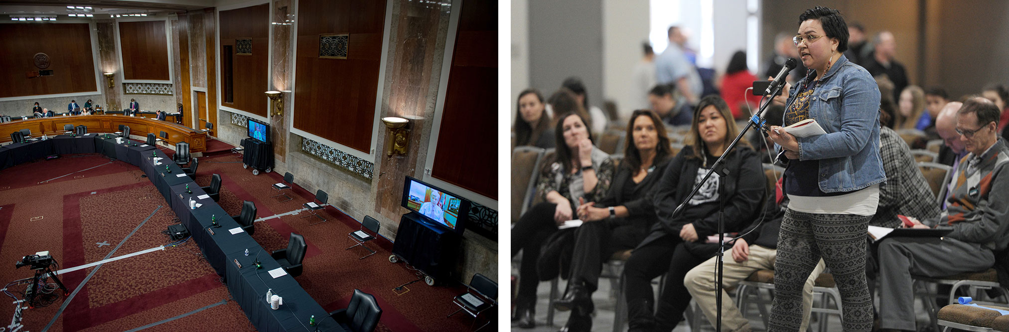 Left: The Senate Commerce, Science, and Transportation Committee holds a remote hearing on the state of broadband internet during the COVID-19 crisis. Right: Siqiniq Maupin speaks out against oil development in the Arctic National Wildlife Refuge at a public input meeting in February 2019.
