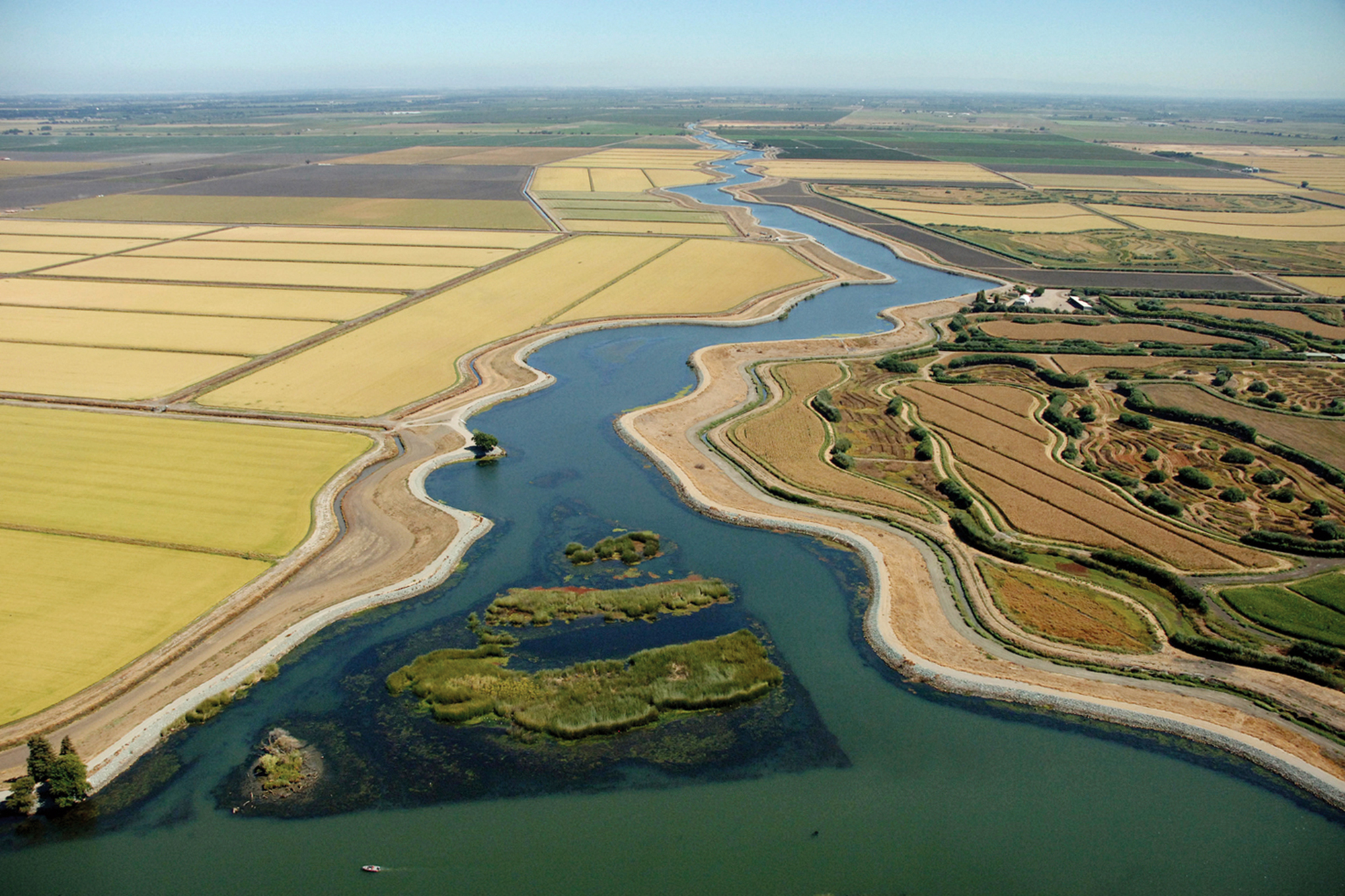 Waterways and sloughs meander through the California Delta.