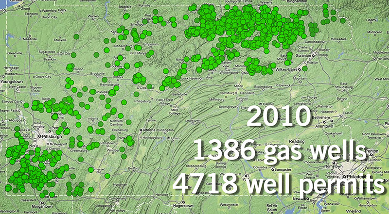 In 2010, there were1,386 gas wells in the area.