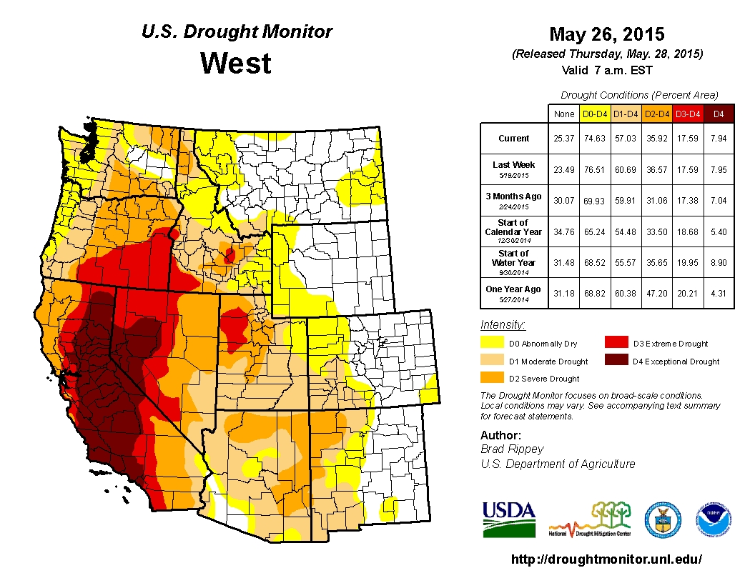 The state of the drought in the West as of May 26, 2015.