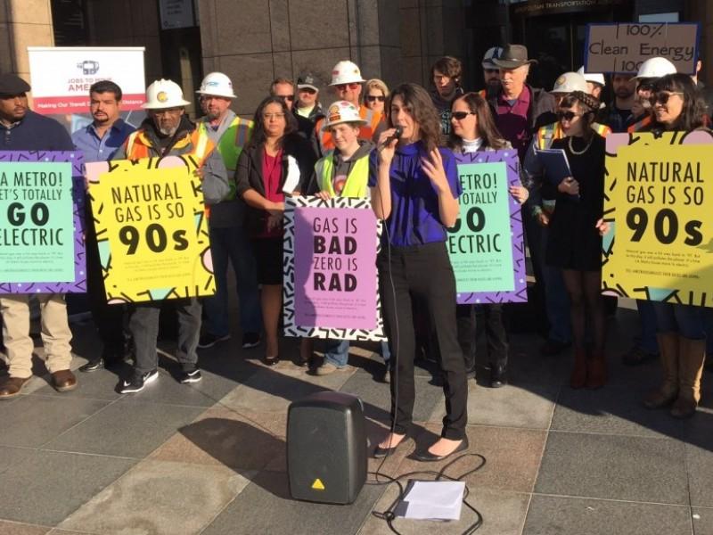 "Local advocates say ""natural gas is so '90s"" as they rally for a fully electric LA Metro bus fleet."