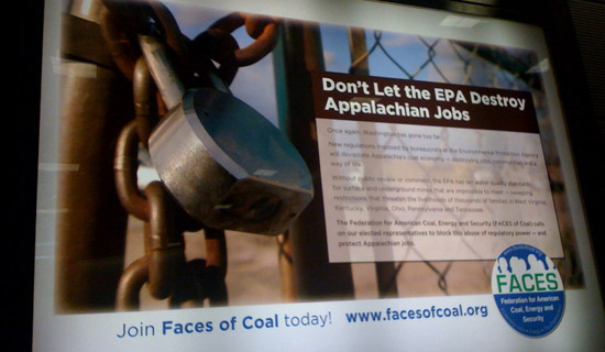 Photo of coal lobbying group ad. Credit: RAN.