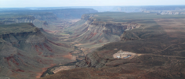 The Kanab North uranium mine sits above Kanab Creek, which feeds into the Colorado River. Uranium mining affects local plants and animals—and scientists are concerned for toxicity levels in the Colorado River, which supplies water for seven states.   (Ecoflight)