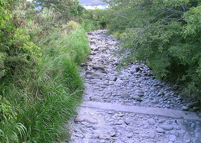 Bone-dry `Iao Stream, downstream of diversions.