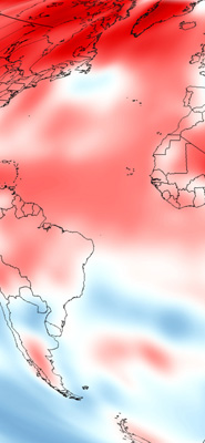 Climate Change. (Map by Dan Pisut, based on NOAA's Merged Land-Ocean Surface Temperature Analysis.)
