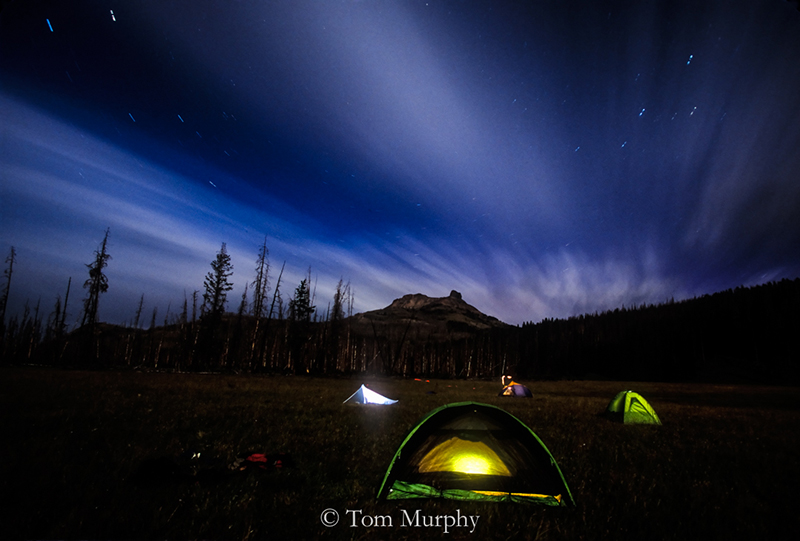 Tents, Colter Peak Star Tracks. (Tom Murphy).