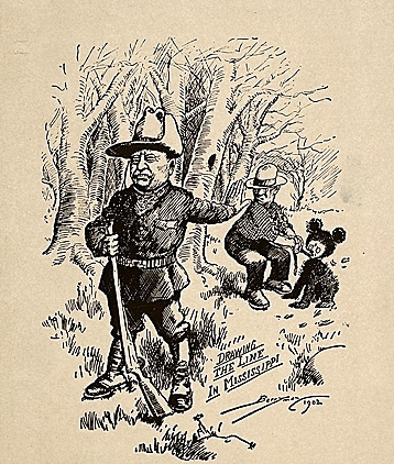 The 1902 Washington Post political cartoon by Clifford Berryman that is said to have inspired the idea of the teddy bear in a Brooklyn, NY candy shop owner.