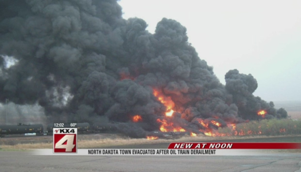 Train cars burst into flames following the derailment.