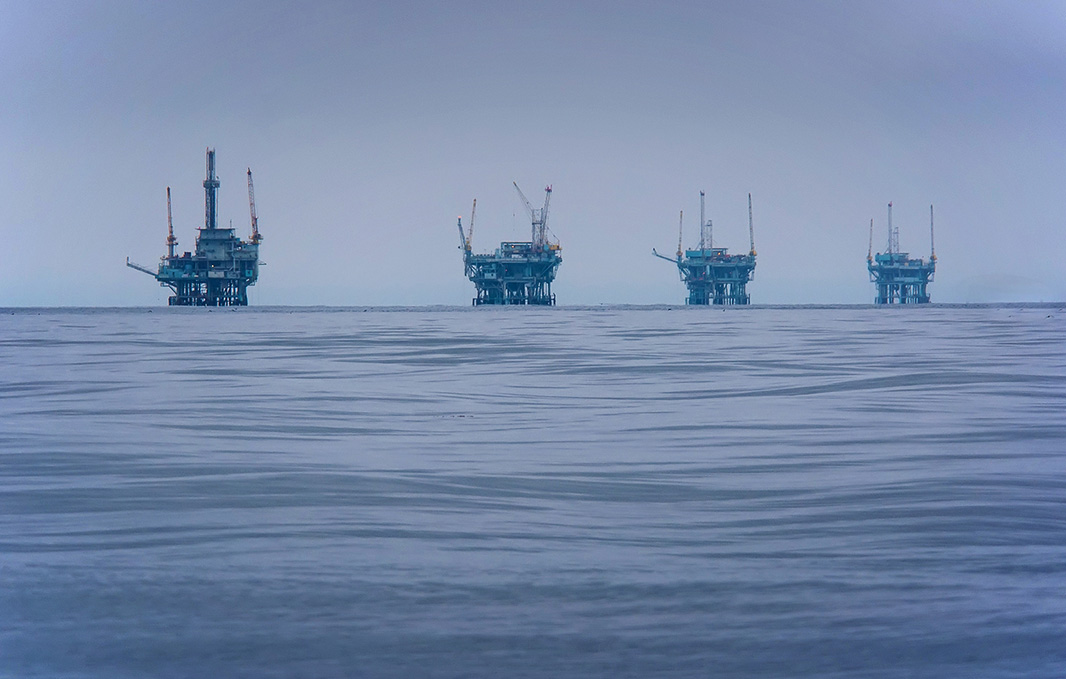 Drilling rigs, like the ones pictured here off the coast of Santa Barbara, California, would spell disaster in the Arctic where remoteness and ice contribute to difficulties cleaning up a spill. Putting them in the Arctic would be a disaster.