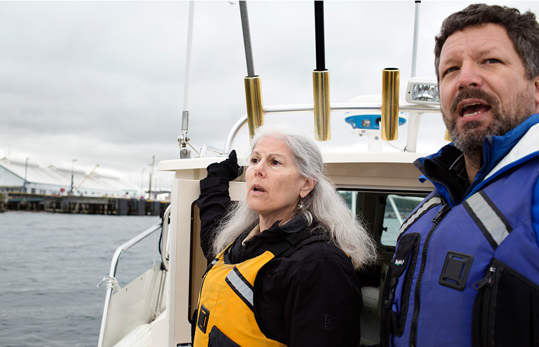 Earthjustice Managing Attorney Patti Goldman of the Northwest regional office (left), with Chris Wilkes, executive director of client Puget Soundkeeper. Goldman is leading the Port of Seattle fight.