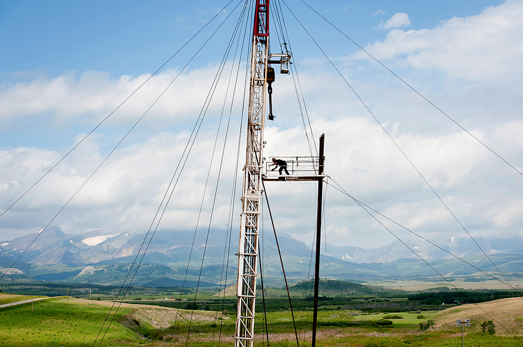 An Anschutz Exploration Corp. drilling site on the Blackfeet Indian Reservation near Browning, Mont., July 20, 2012.  Certain parts of the reservation have been opened to drilling.
