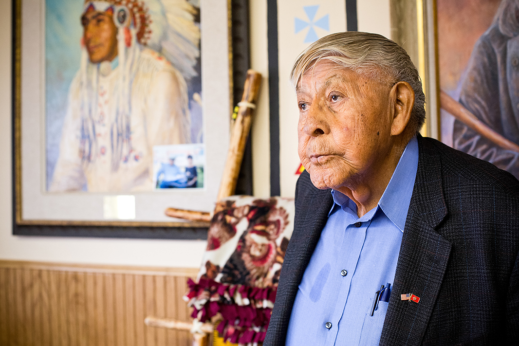 Chief Old Person, in his office in downtown Browning, Montana. He has served as an elected official for his tribe since the 1950s.
