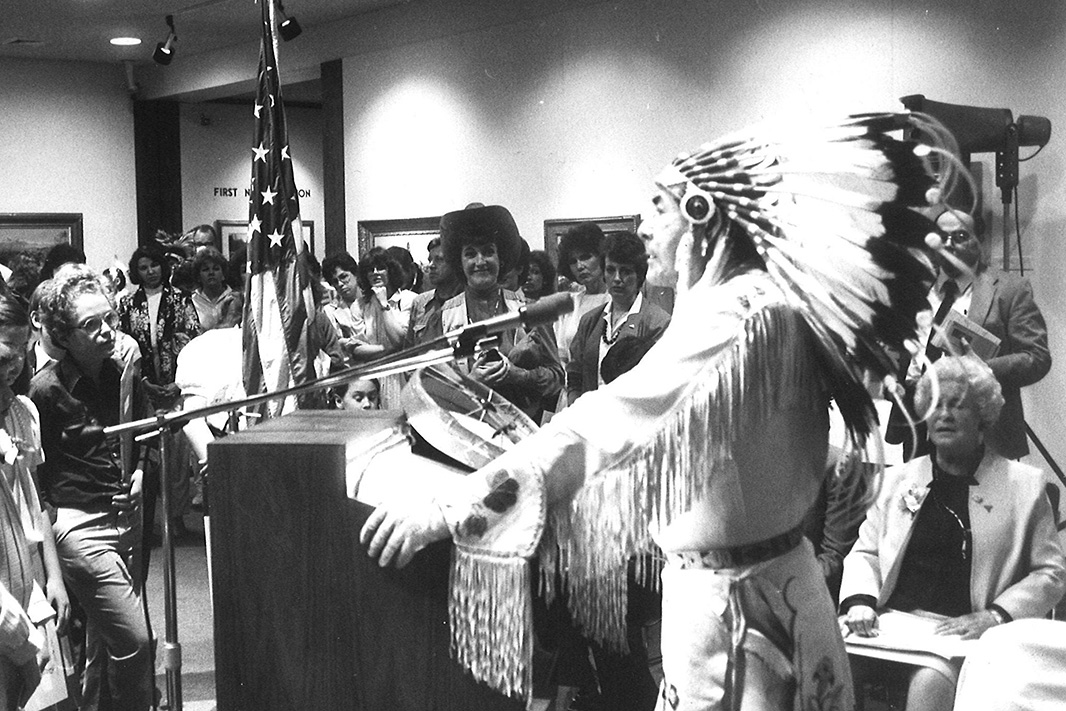 Earl Old Person speaks to a crowd in 1986. Elected to the Blackfeet Tribal Business Council in 1954, Chief Old Person has been an impassioned ambassador for the Blackfeet Tribe for more than six decades.