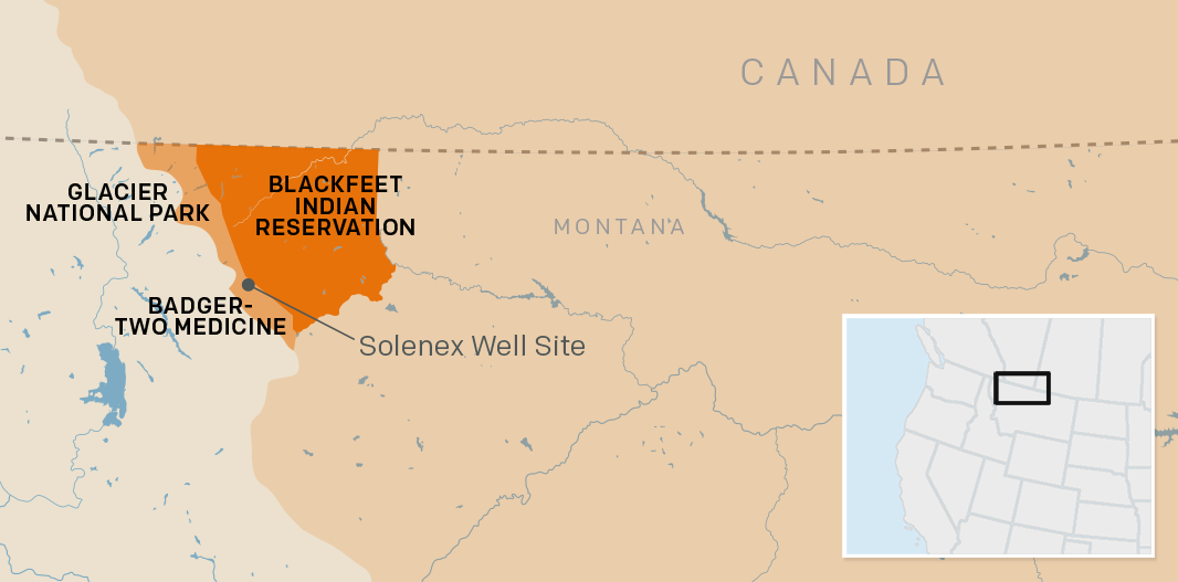Map of Blackfeet Indian Reservation, Glacier National Park, Badger-Two Medicine and the Solenex well site.