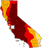 Drought intensity map of California for July 14, 2015. Darker areas correspond to more extreme drought conditions. (David Simeral, Western Regional Climate Center / National Drought Mitigation Center)