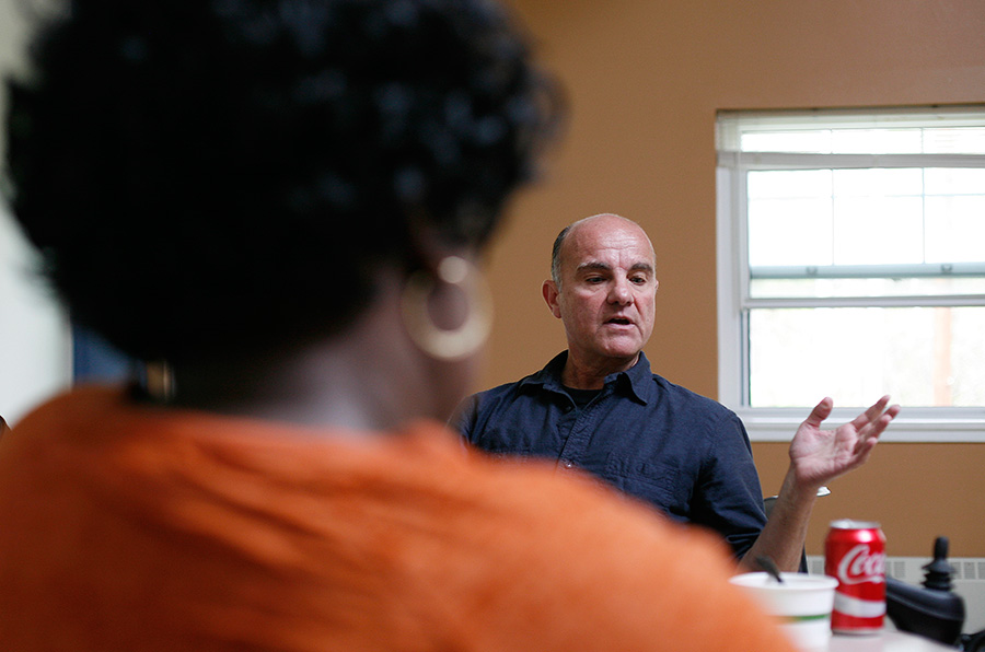 In the community room at Ezra Prentice Homes, Chris met with concerned residents and family members who have been working to prevent their community from being turned into a major oil transport hub.
