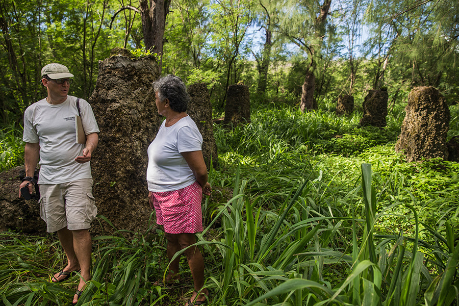 On August 8, David Henkin visited the site of an ancient meeting house at Masålok on Tinian with Deborah Fleming, a member of the Tinian Women's Association, and others.
