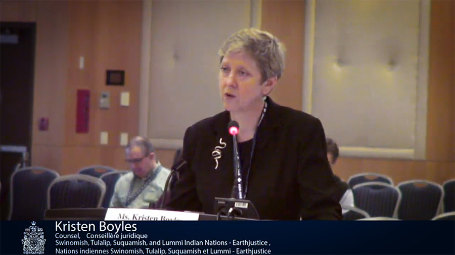 Kristen Boyles presents oral arguments before Canada's National Energy Board regarding Kinder Morgan's TransMountain pipeline project.