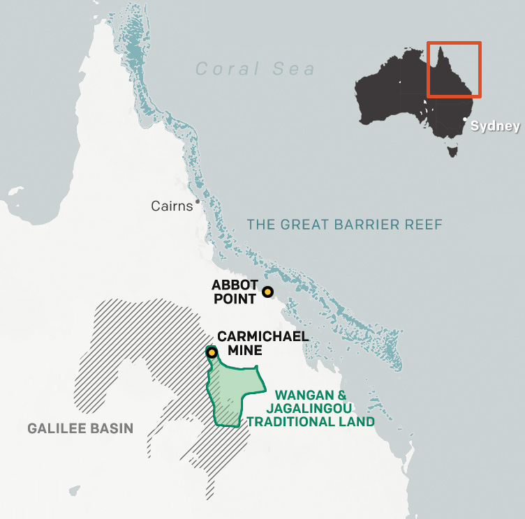 This map of Queensland, Australia, shows the location of the Carmichael mine on Wangan and Jagalingou traditional land as well as the close proximity of the Abbot Point shipping terminal to the Great Barrier Reef.