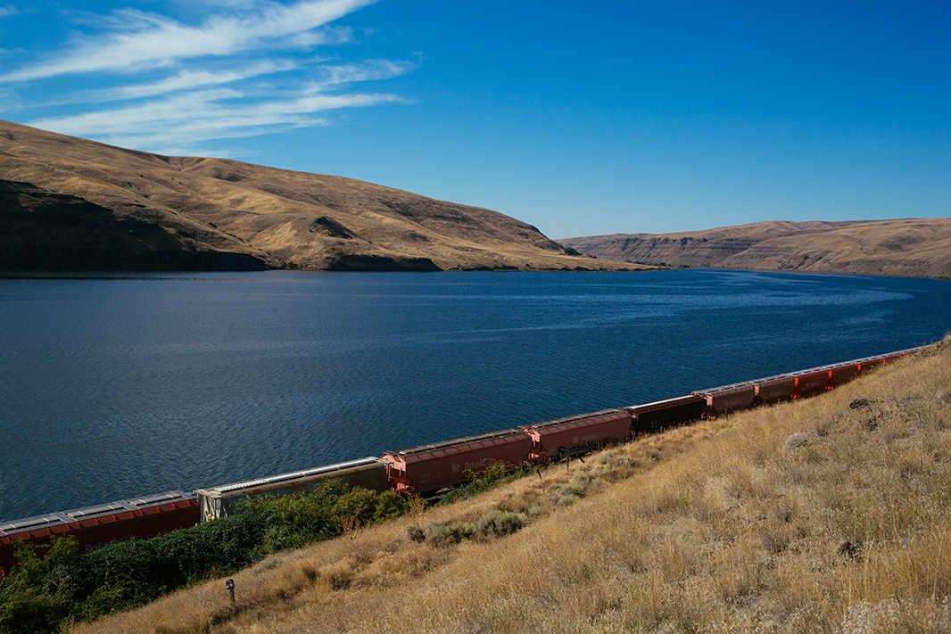A rail line along the Snake River, in September, 2016.