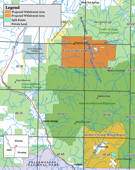 Map of the Yellowstone Gateway Mining Regions.