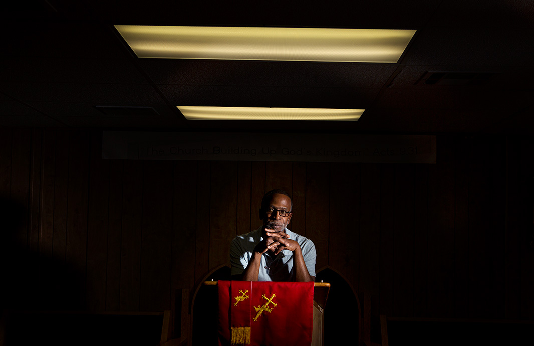 Rev. Chambers at his church in West Oakland.