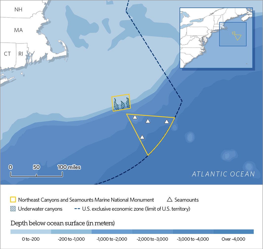 Northeast Canyons and Seamounts Marine National Monument: The protected area, encompassing 4,913 square miles, encompasses three canyons (Oceanographer, Gilbert, or Lydonia) and four seamounts (Bear, Physalia, Mytilus and Retriever).