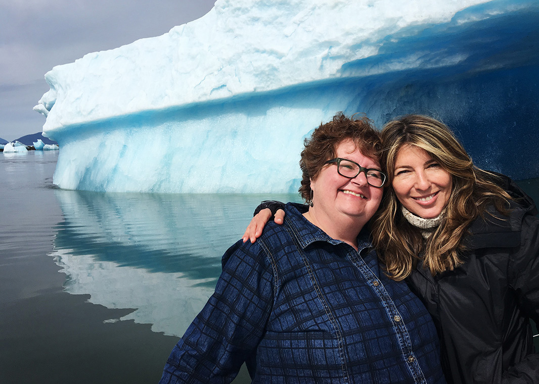 Nina Garcia (right), with Barbara Frank, the long-time office manager of Earthjustice's Alaska regional office.